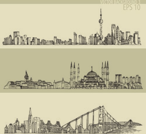 Hand drawing city retro background vector
