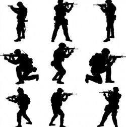soldier silhouettes vector set 03
