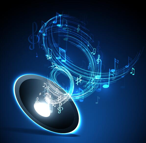 Abstract music background blue style vector 07
