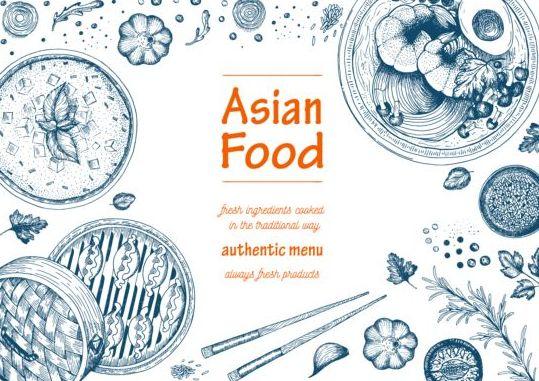 Asian food menu hand drawn vector 03
