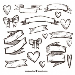 Assortment of hand-drawn ribbons and hearts