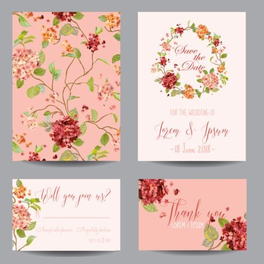 Autumn flower wedding invitation vectors 02