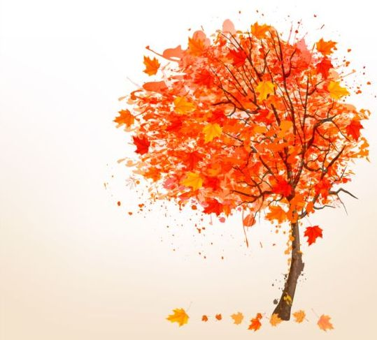 Autumn leaves with tree vector background