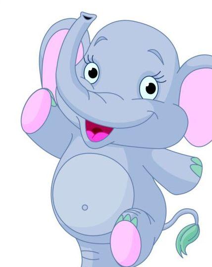 Baby elephant cute cartoon vector 02