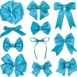 Beautiful blue bow design vector set 03