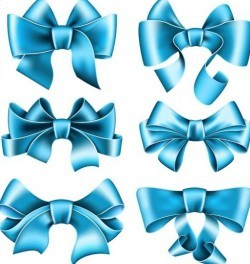 Beautiful blue bow design vector set 02