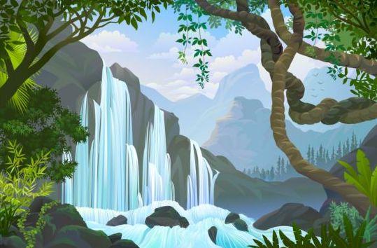 Beautiful Jungle landscape vector graphics 10