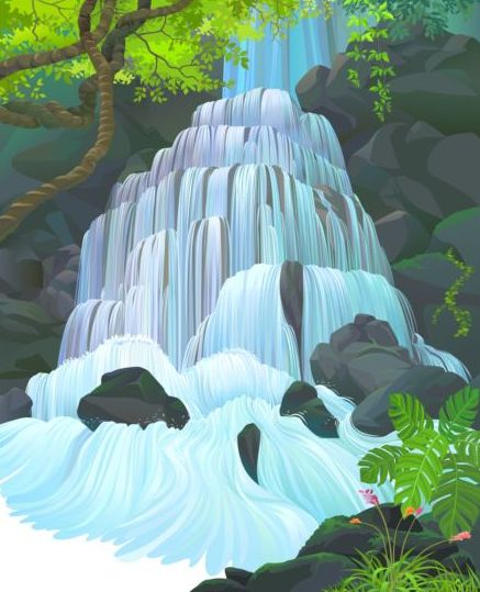 Beautiful Jungle landscape vector graphics 11