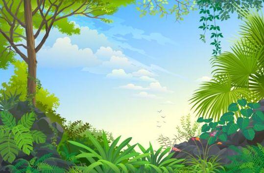 Beautiful Jungle landscape vector graphics 09