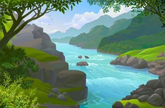 Beautiful Jungle landscape vector graphics 08