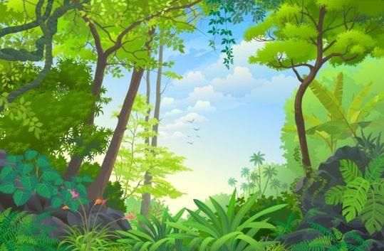 Beautiful Jungle landscape vector graphics 07