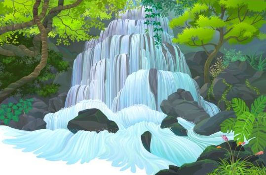 Beautiful Jungle landscape vector graphics 06