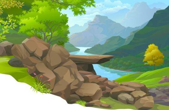 Beautiful Jungle landscape vector graphics 04