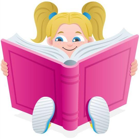 Children with books vector design 04