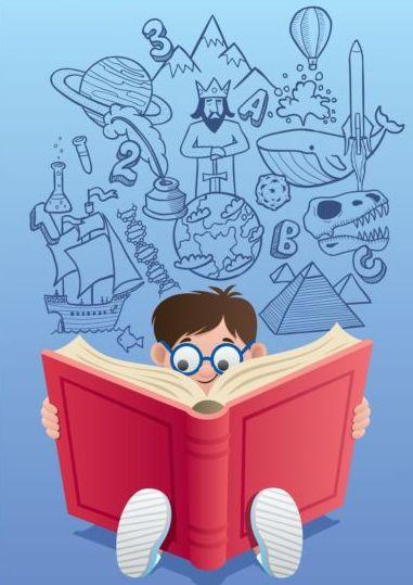 Children with books vector design 03