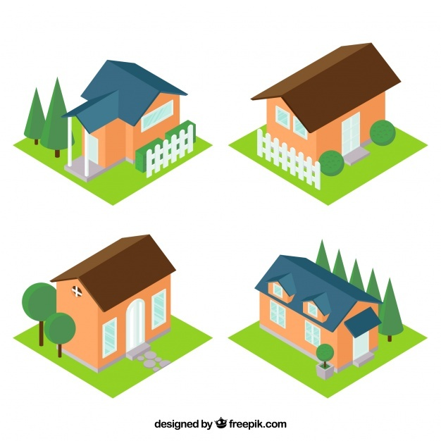 Collection of four isometric houses with garden