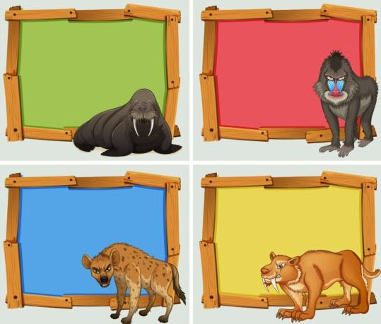 Colored wooden frame with wild animals vector 02
