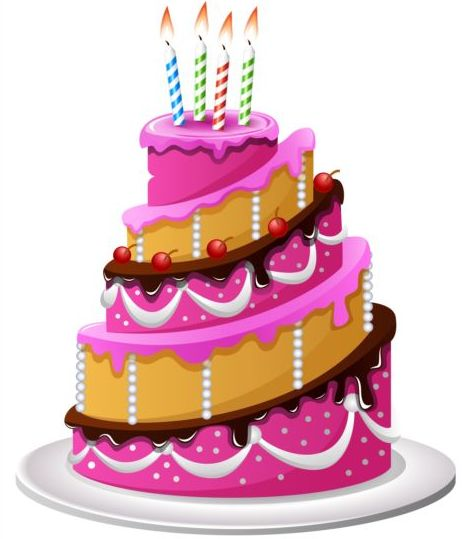 Delicious birthday cake with candle vectors 01