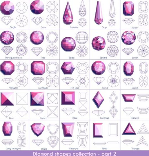 Diamond shapes with outlines vector set 02