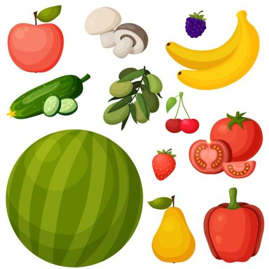 Different fresh vagetables vector set 03
