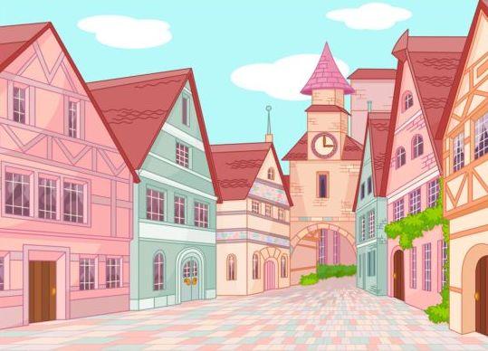 Europe town street vector