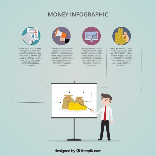 Flat money infographic template