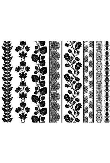 Floral black border vectors