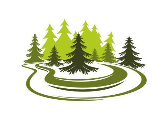Forest trees logo vectors 01