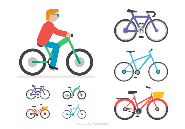 Free Flat Bicycle Vector Icons