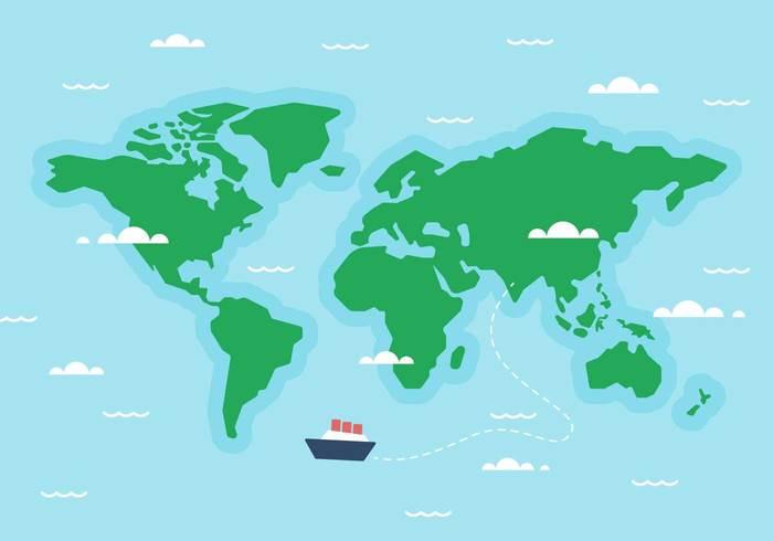 Free World Map Ship Vector