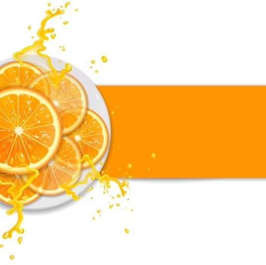 Fresh orange with juice background vector 02