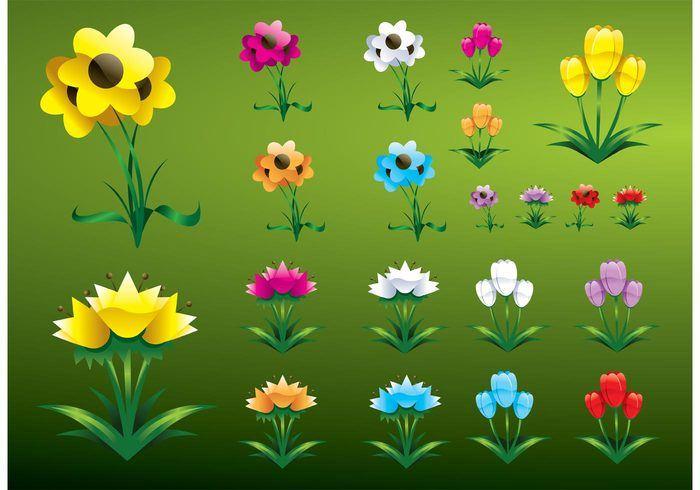 Glossy Flowers Vectors