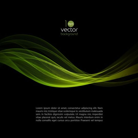 Green wavy with black background vector