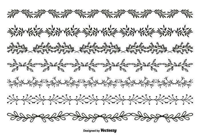 Hand Drawn Style Vector Border Set