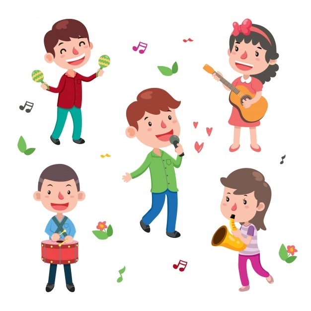 Kids playing instruments collection