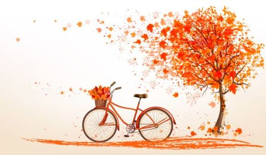 Nature autumn background with red trees and bike vector 01
