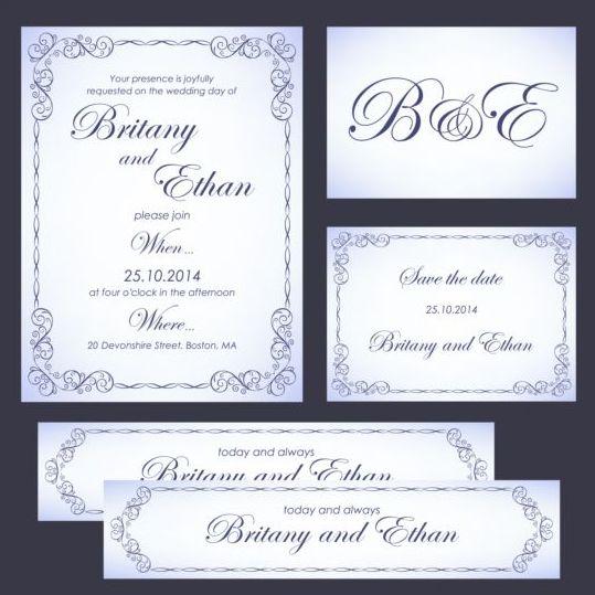 Ornate wedding card vector set