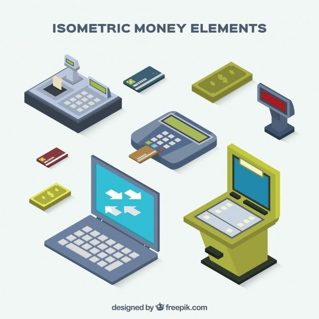 Pack of isometric money elements