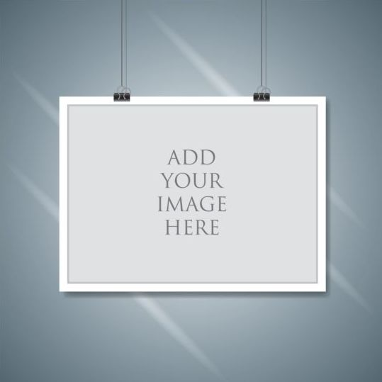 Paper mockup hanging with paper clip vectors 04