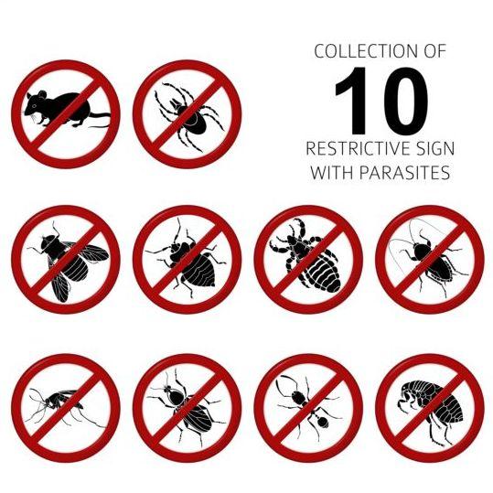 Parasites warning sign vectors set 03