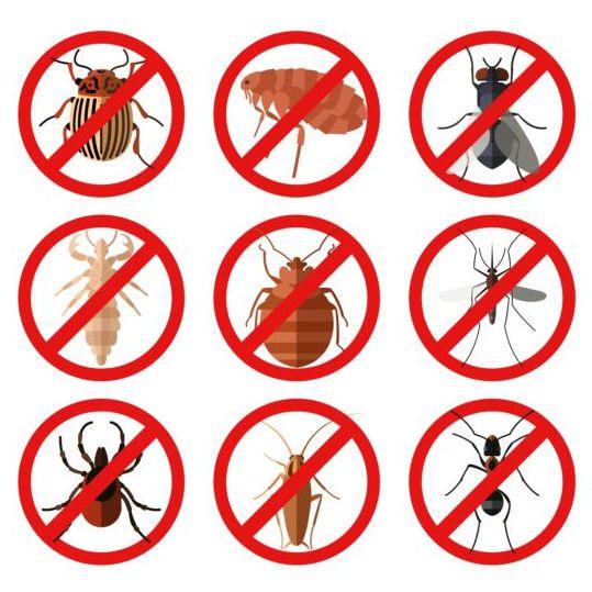 Parasites warning sign vectors set 02