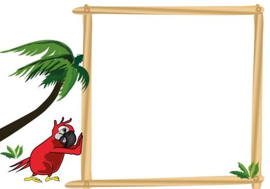 Parrot with text frame vector 08