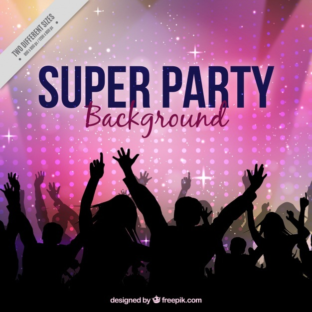 Party background with crowd dancing