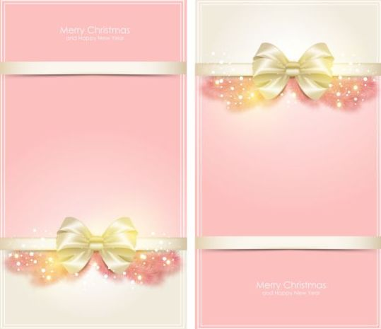 Pink christmas vertical cards vector material