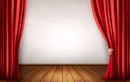 Red curtain with wooden floor and hand vectors background vector 03