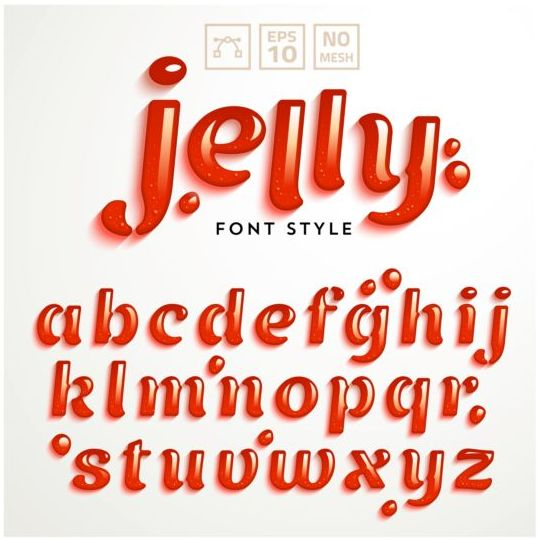 Red jelly alphabet vector