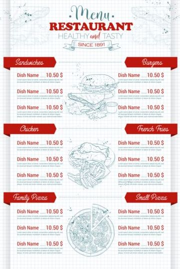 Restaurant price menu vintage vector 07