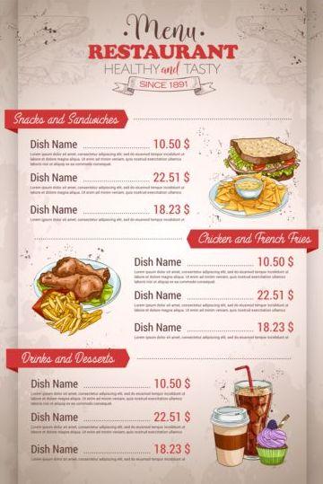 Restaurant price menu vintage vector 04