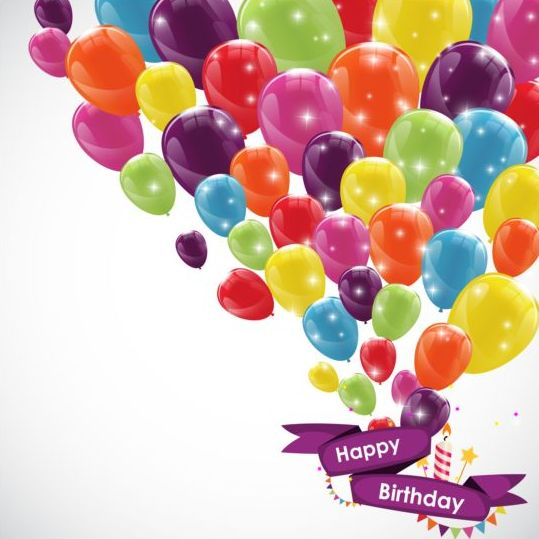 Ribbon birthday banner with colorful balloons vector 02