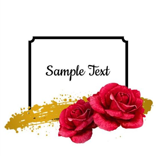 Rose with black frame vector